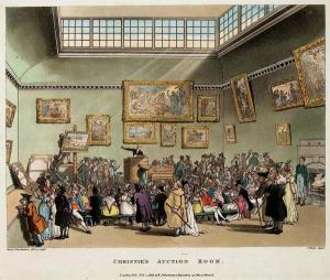 Thomas Rowlandson i Augustus Pugin, Christie's Auction Room, 1808. Aiguafort acolorida, 238 x 296 mm.