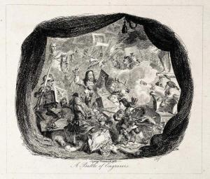 George Cruishank, A Battle of Engravers, 1828. Aiguafort, 135 x 150 mm.
